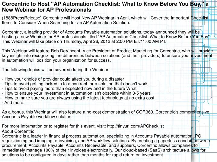 "Corcentric to Host ""AP Automation Checklist: What to Know Before You Buy,"" a New Webinar for AP Prof..."