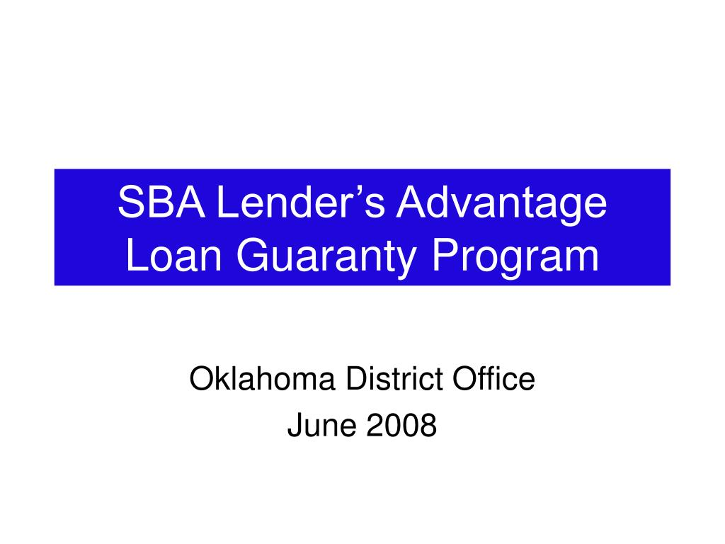 sba lender s advantage loan guaranty program l.