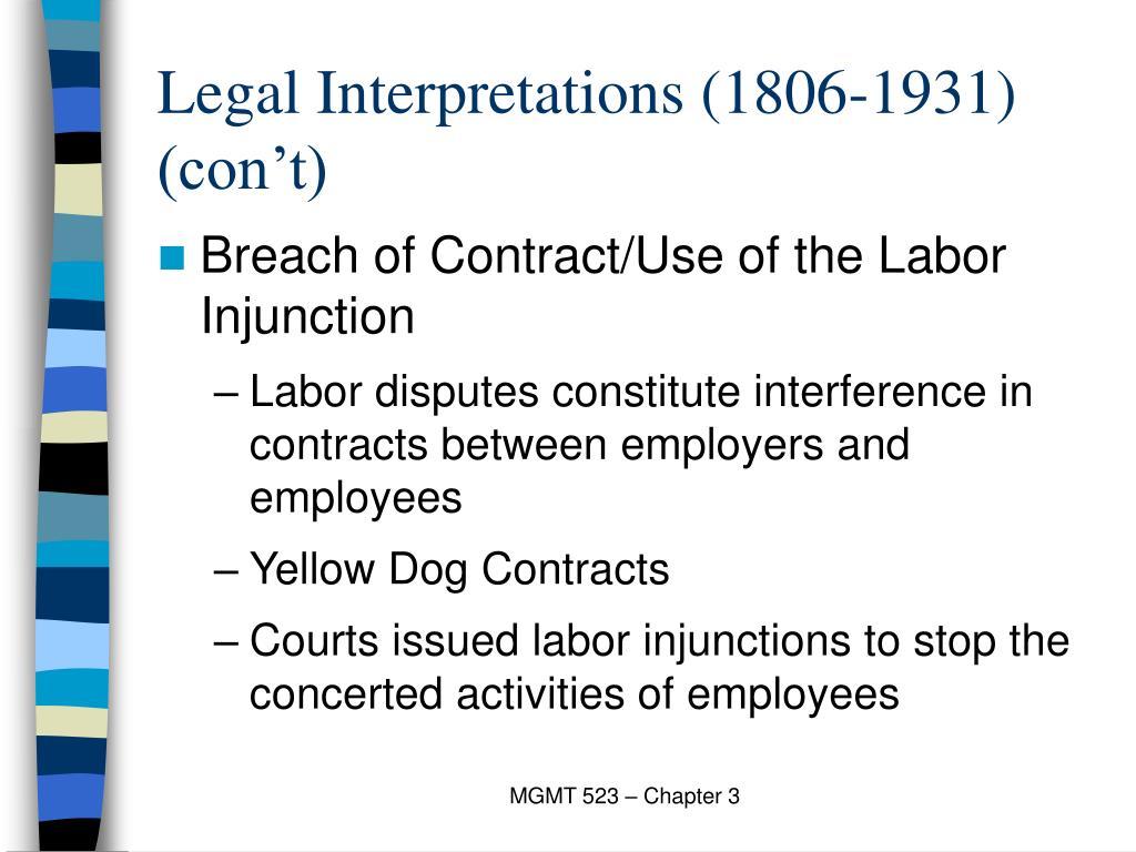 Legal Interpretations (1806-1931) (con't)