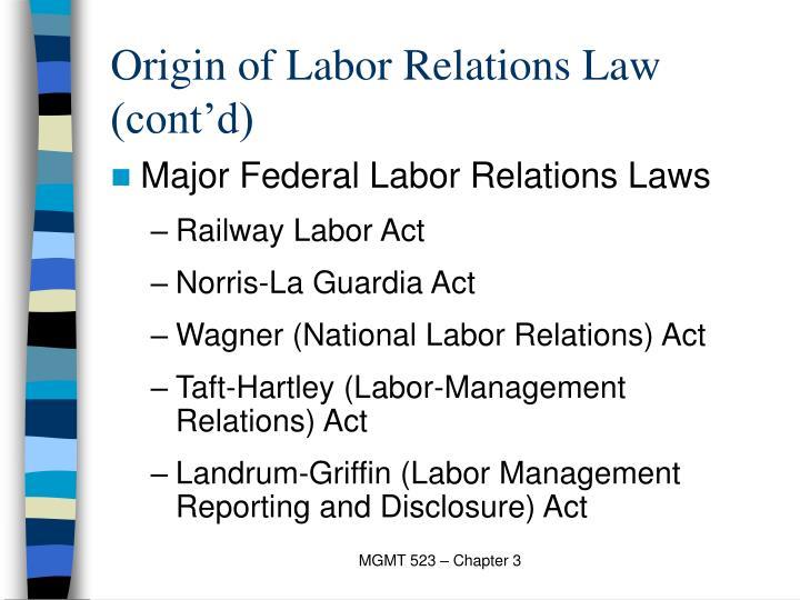 Origin of labor relations law cont d