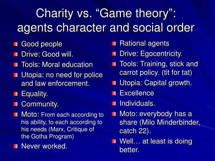 Charity vs game theory agents character and social order