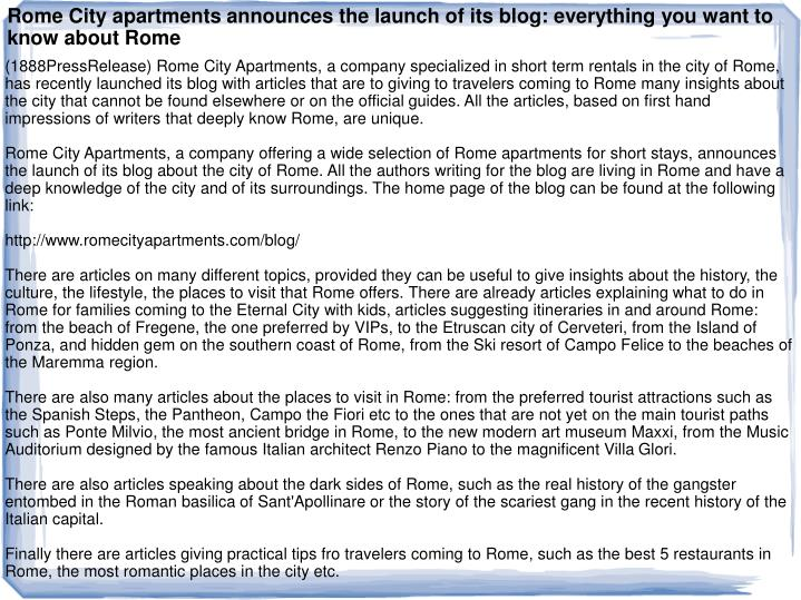 Rome City apartments announces the launch of its blog: everything you want to know about Rome