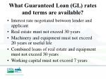 what guaranteed loan gl rates and terms are available