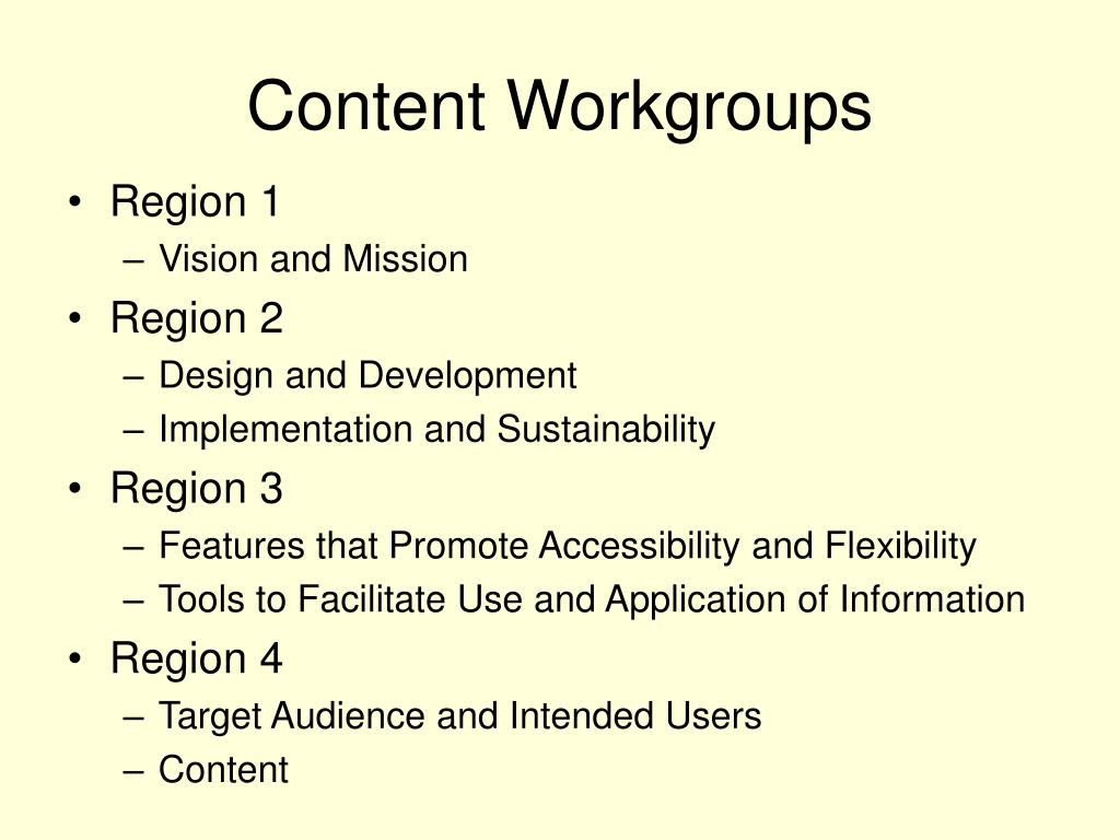 Content Workgroups
