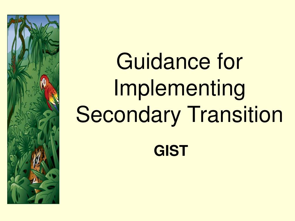 Guidance for Implementing Secondary Transition