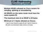 clns addressing requirements and caveats23