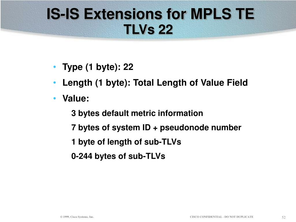IS-IS Extensions for MPLS TE
