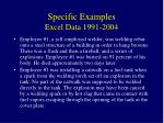 specific examples excel data 1991 200411