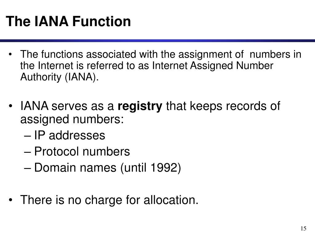 The IANA Function