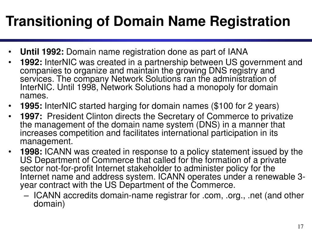 Transitioning of Domain Name Registration