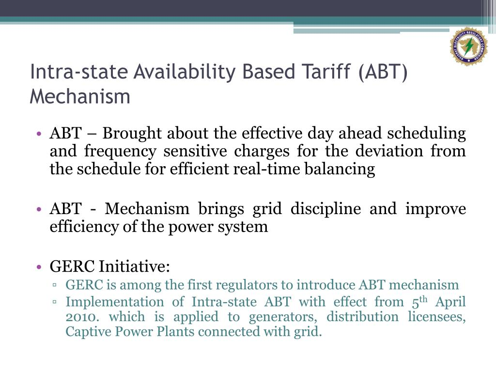 Intra-state Availability Based Tariff (ABT) Mechanism
