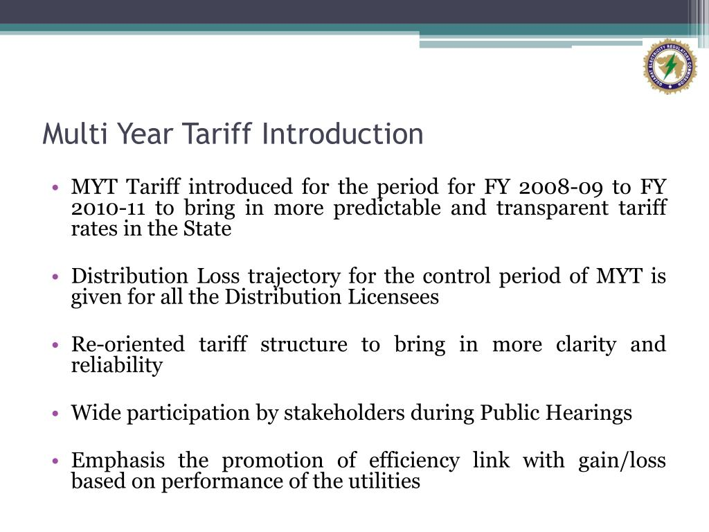 Multi Year Tariff Introduction