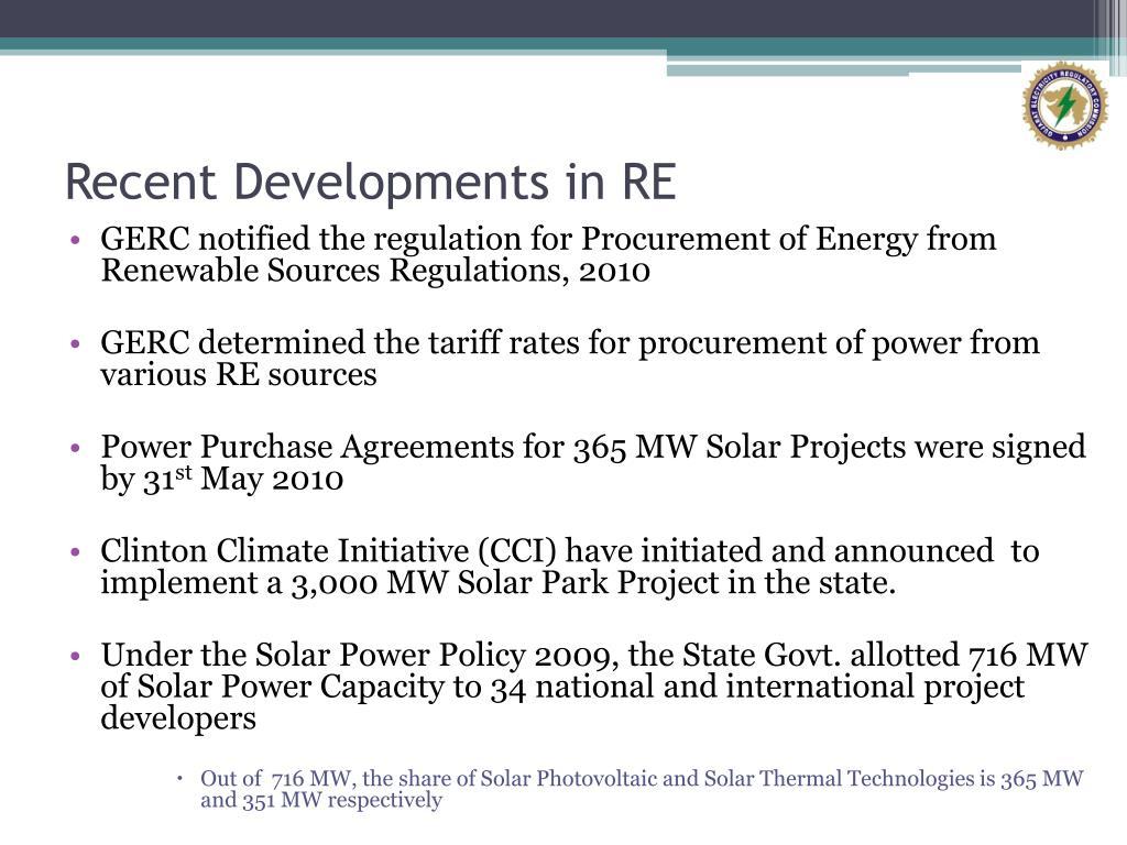 Recent Developments in RE