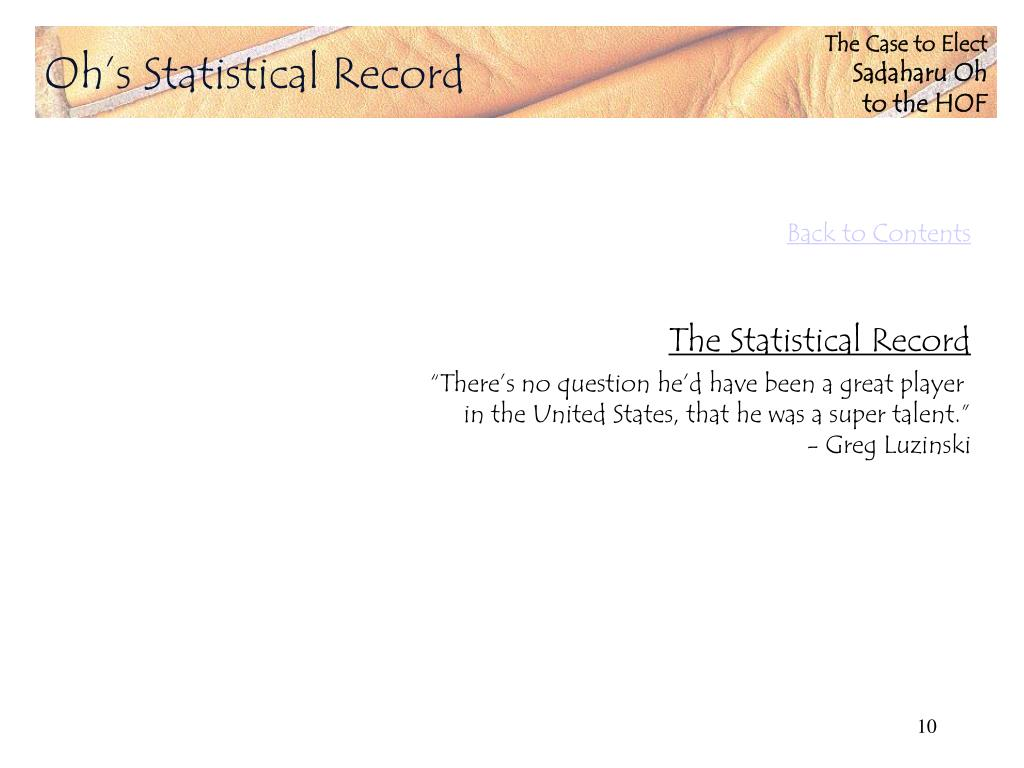 Oh's Statistical Record