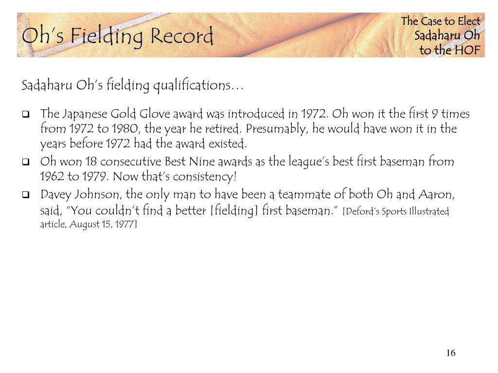 Oh's Fielding Record