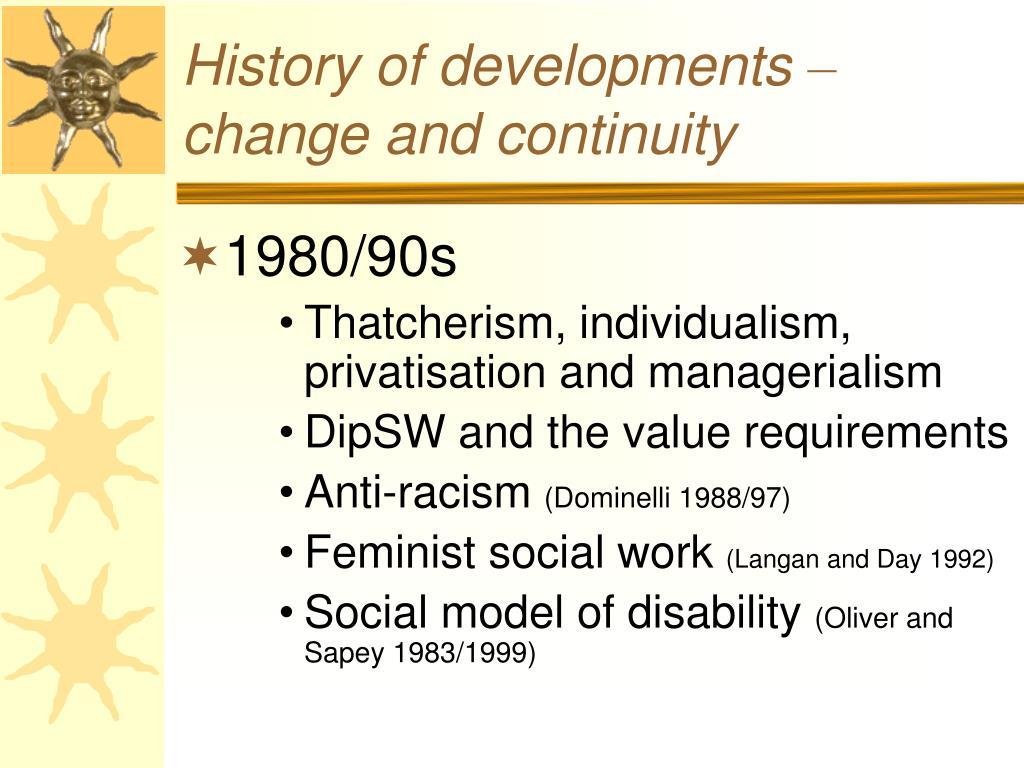 History of developments