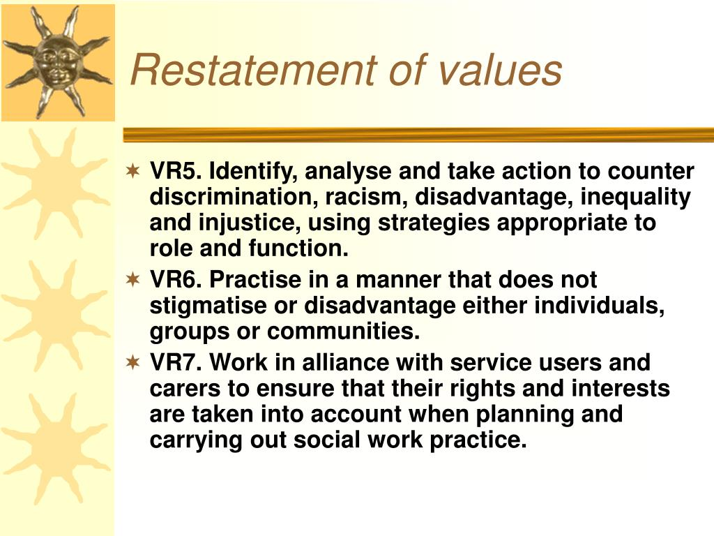 Restatement of values