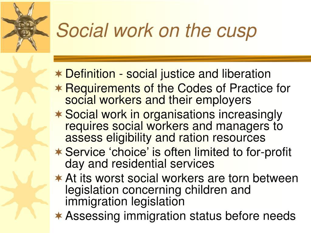 Social work on the cusp