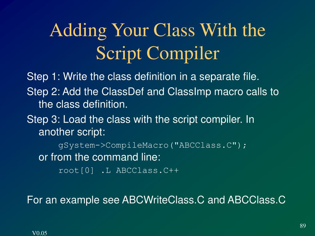 Adding Your Class With the Script Compiler