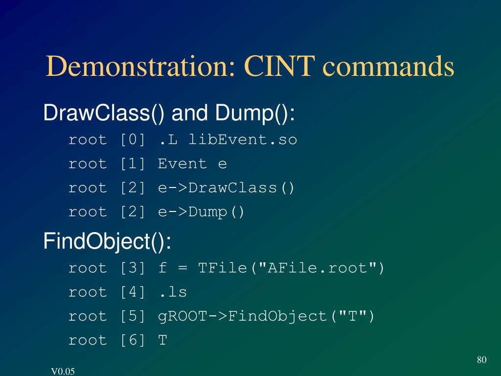Demonstration: CINT commands