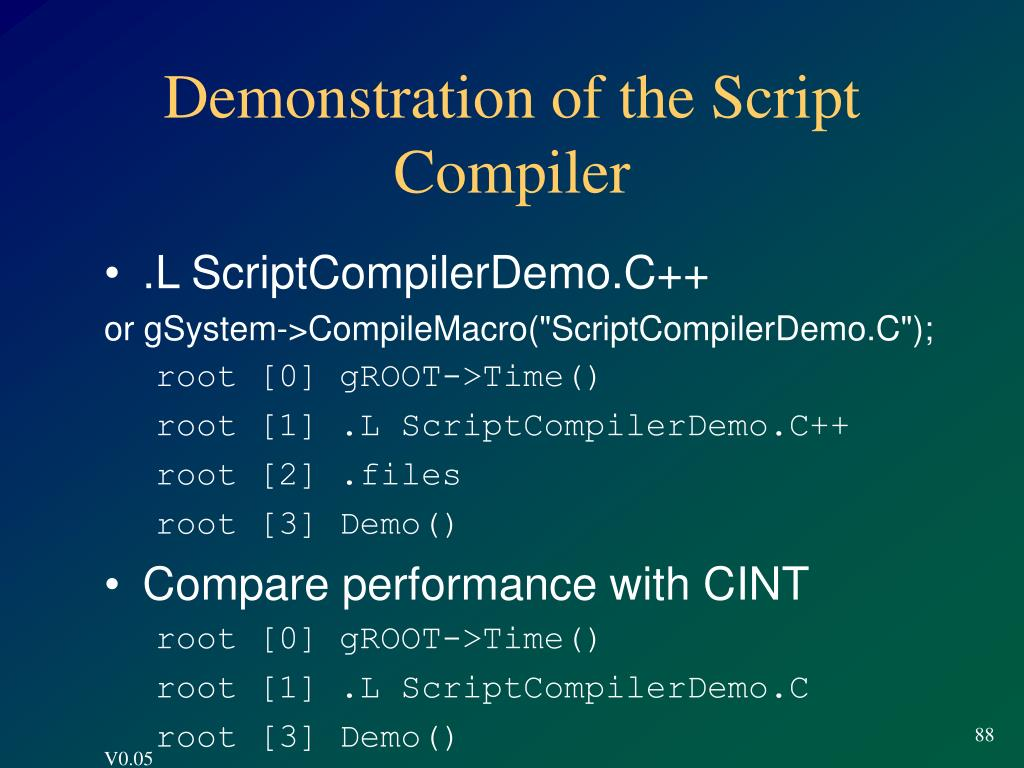 Demonstration of the Script Compiler