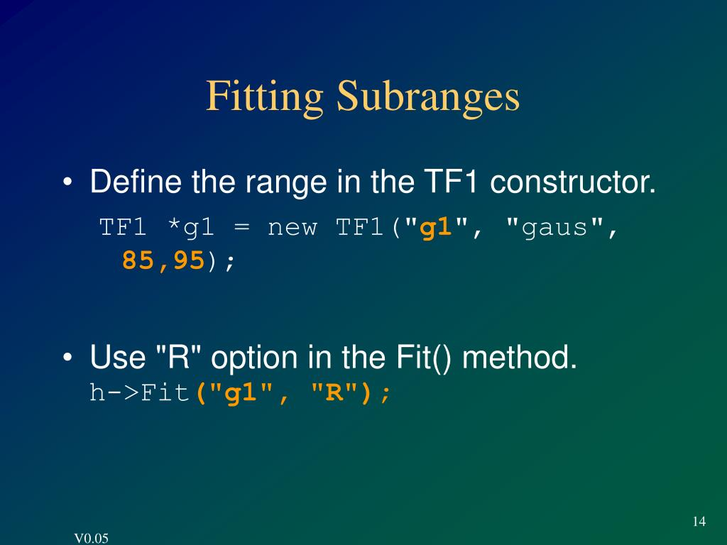 Fitting Subranges