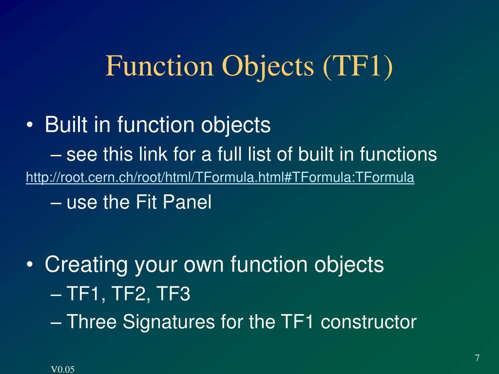Function Objects (TF1)