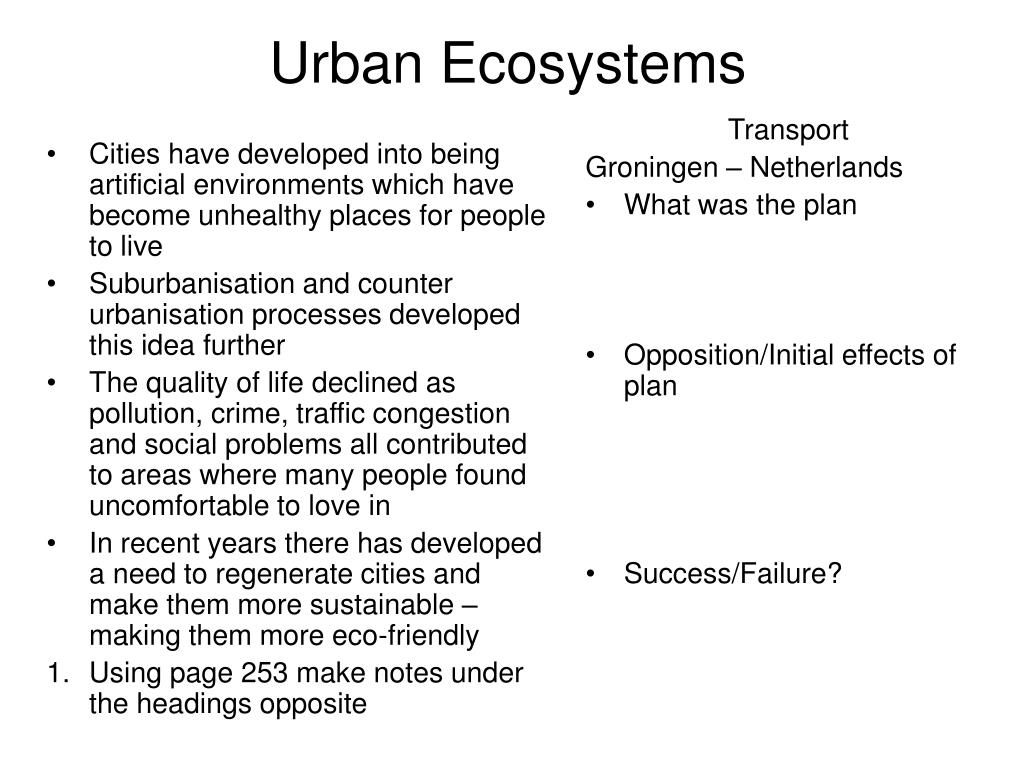 Cities have developed into being artificial environments which have become unhealthy places for people to live