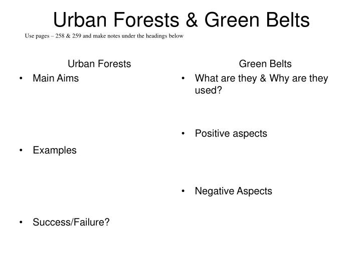 Urban forests green belts
