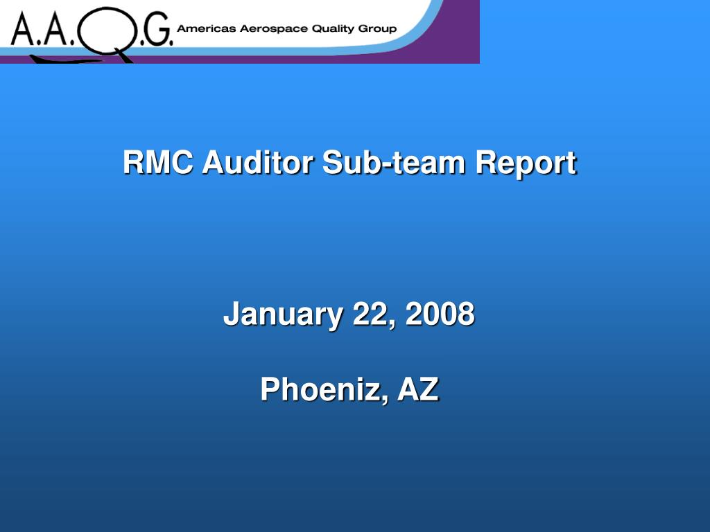 RMC Auditor Sub-team Report