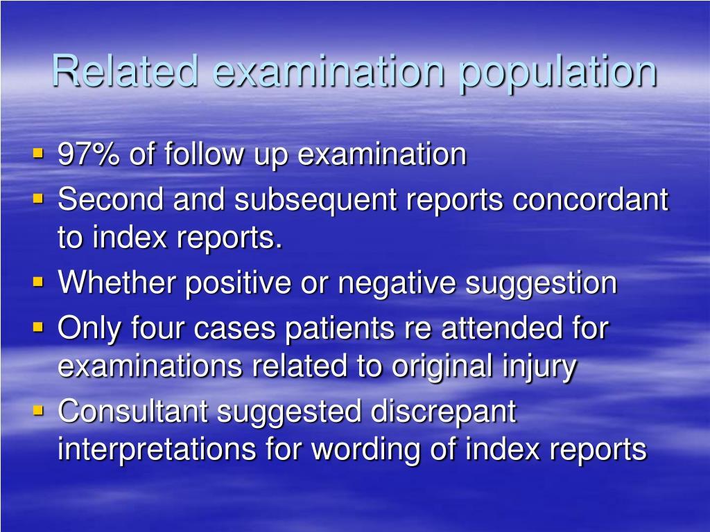 Related examination population