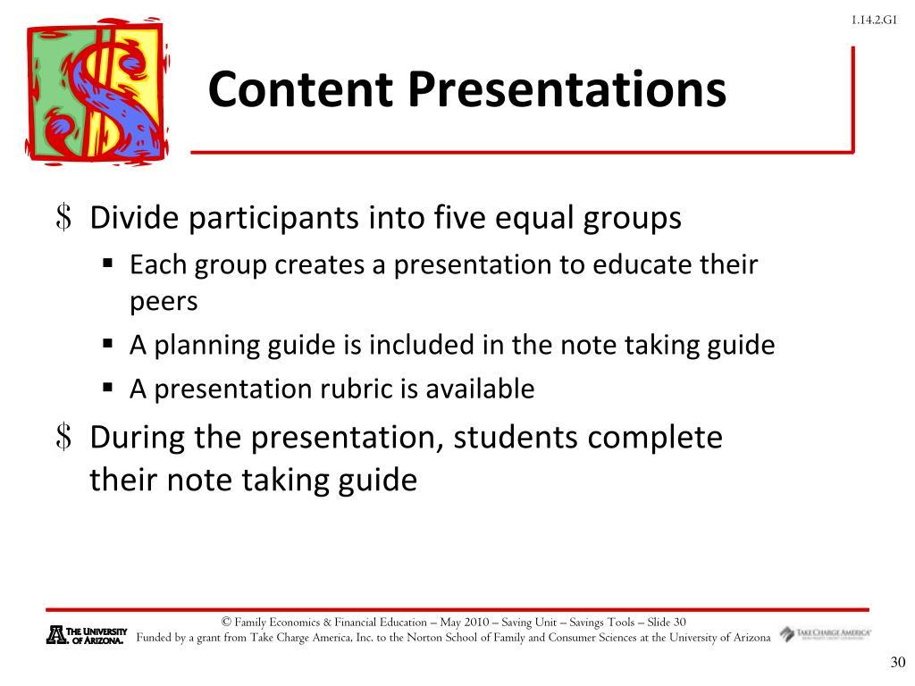 Content Presentations