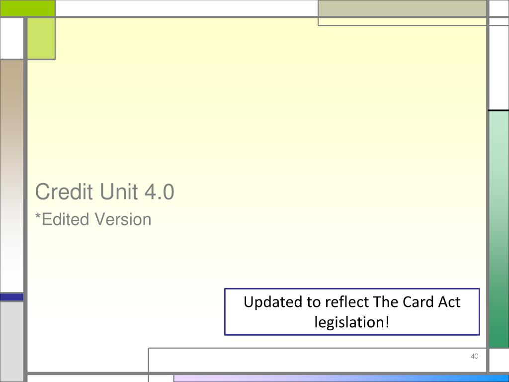 Credit Unit 4.0