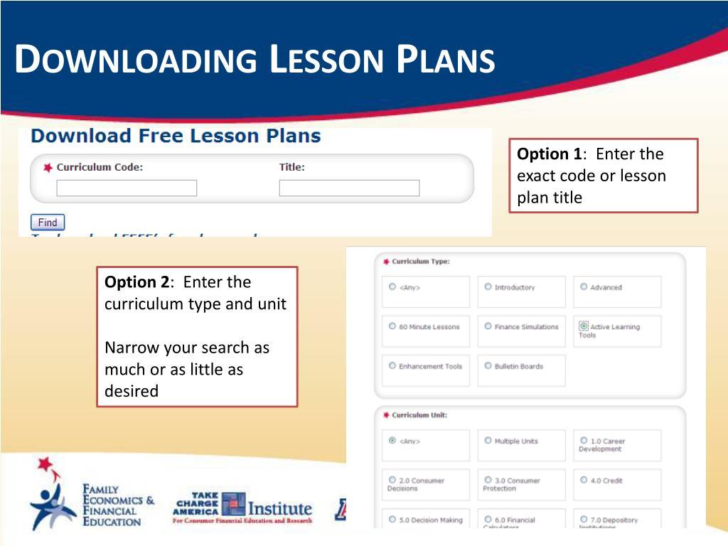 Downloading Lesson Plans