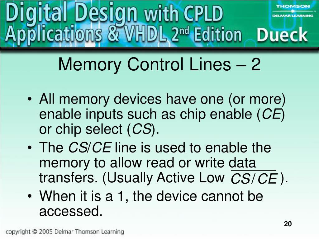 Memory Control Lines – 2