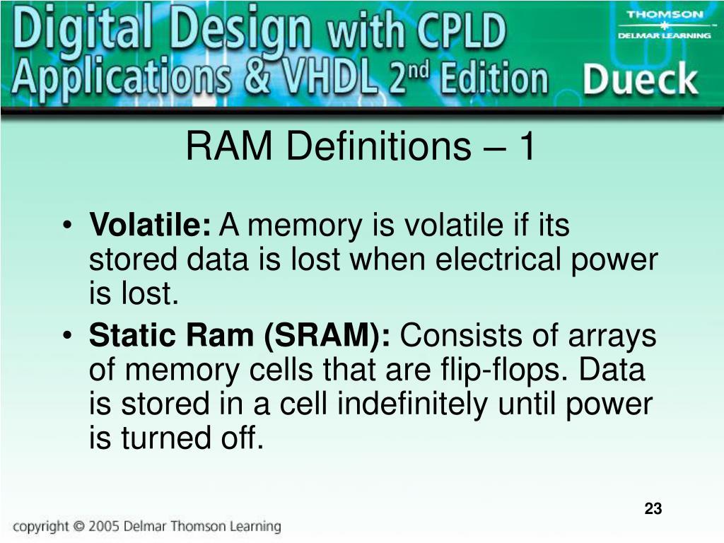 RAM Definitions – 1