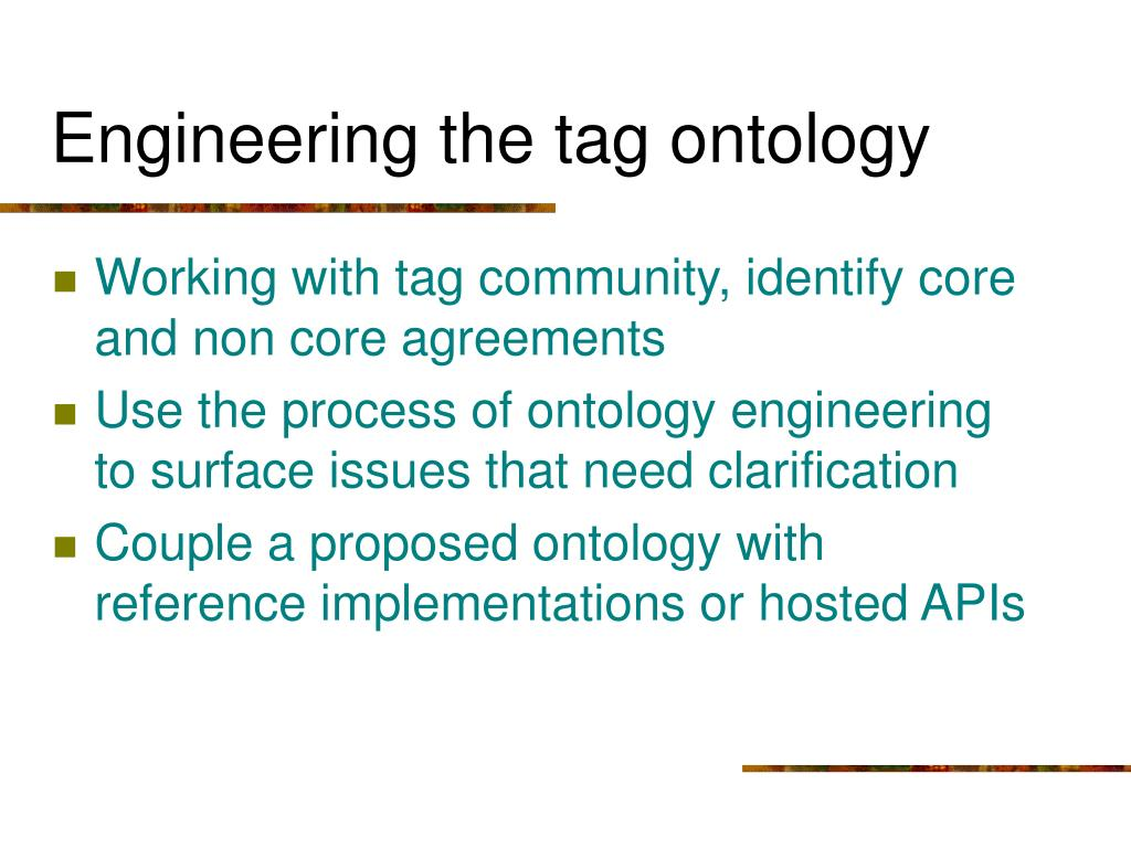 Engineering the tag ontology