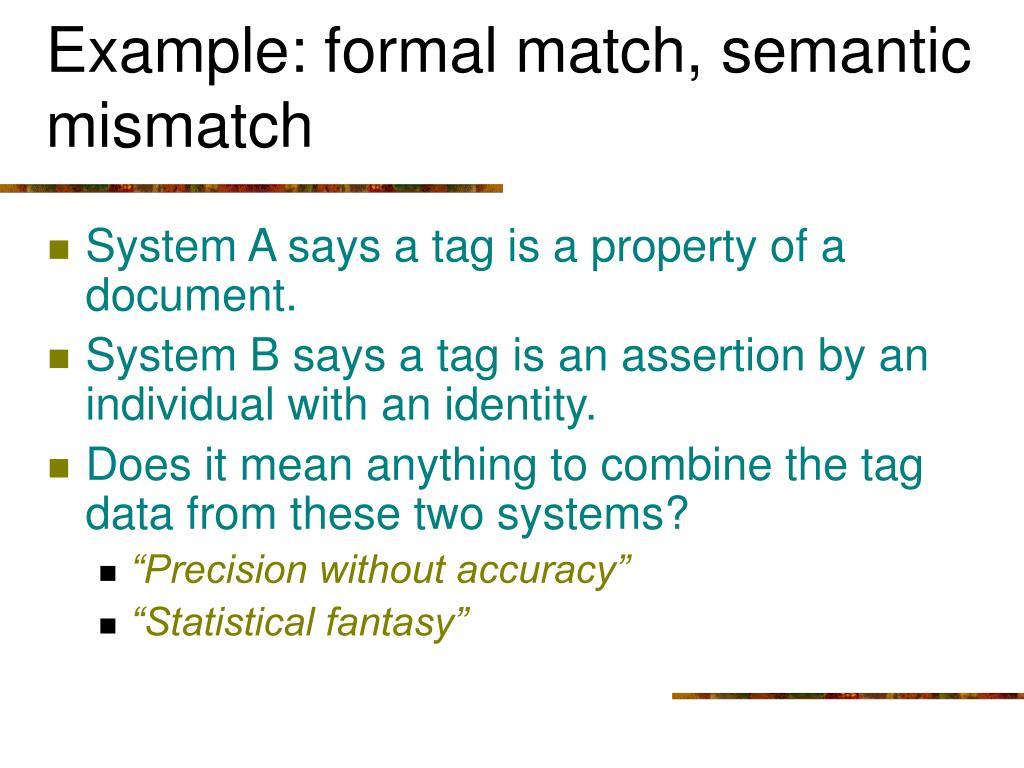Example: formal match, semantic mismatch