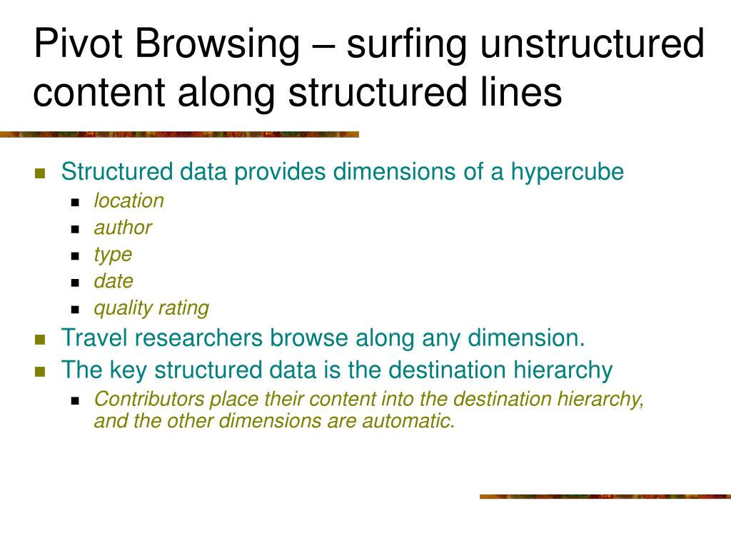 Pivot Browsing – surfing unstructured content along structured lines
