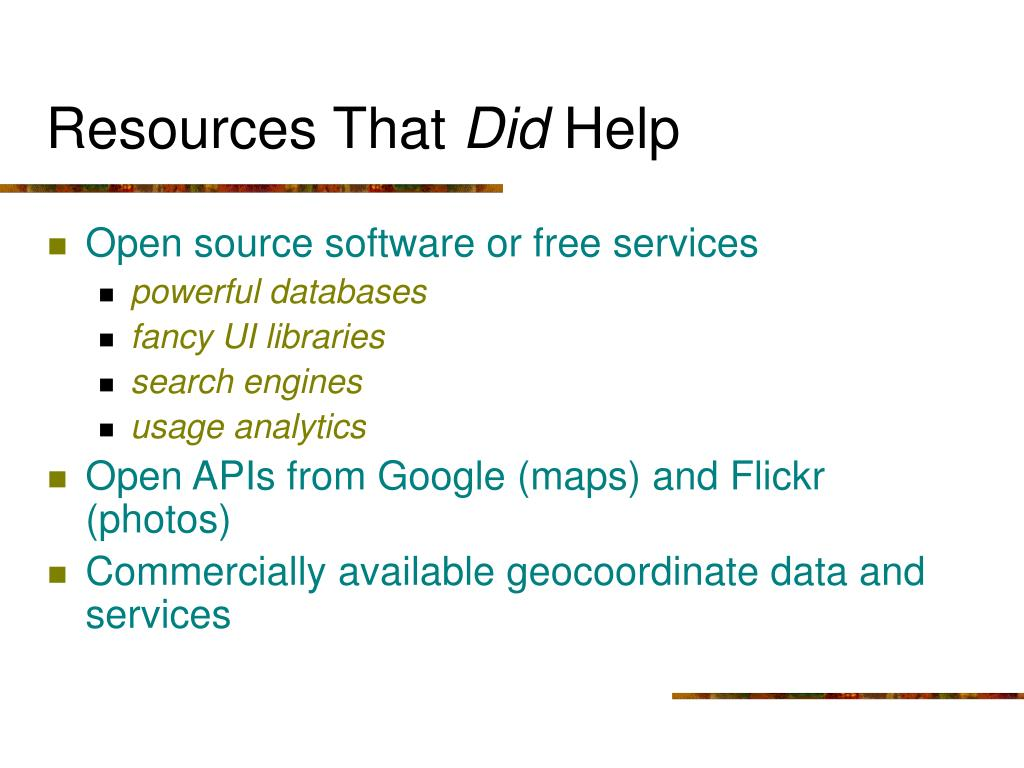 Resources That