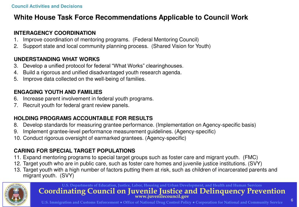 Council Activities and Decisions