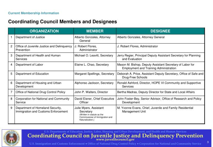 Current membership information coordinating council members and designees
