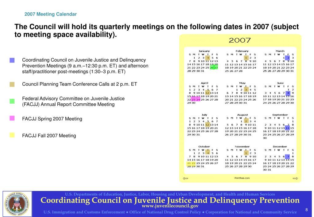 2007 Meeting Calendar