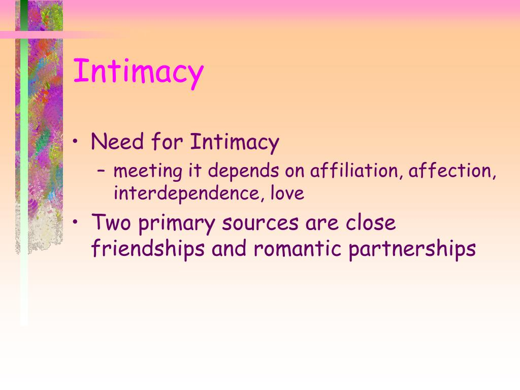 Need for Intimacy
