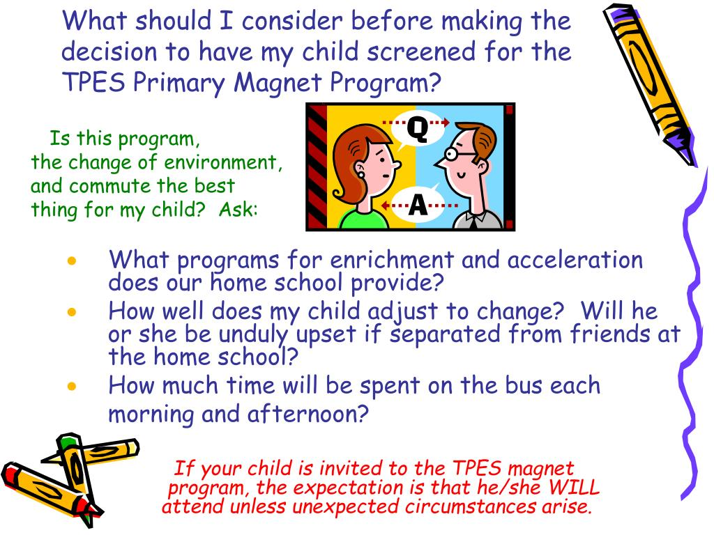 What should I consider before making the decision to have my child screened for the TPES Primary Magnet Program?