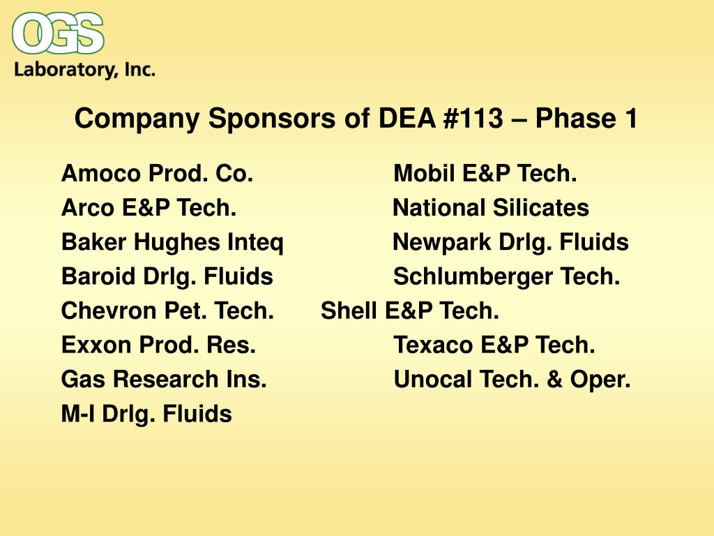 Company Sponsors of DEA #113 – Phase 1