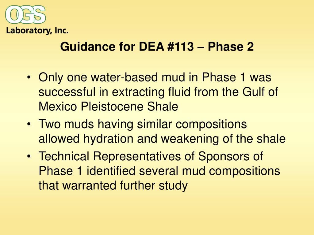 Guidance for DEA #113 – Phase 2