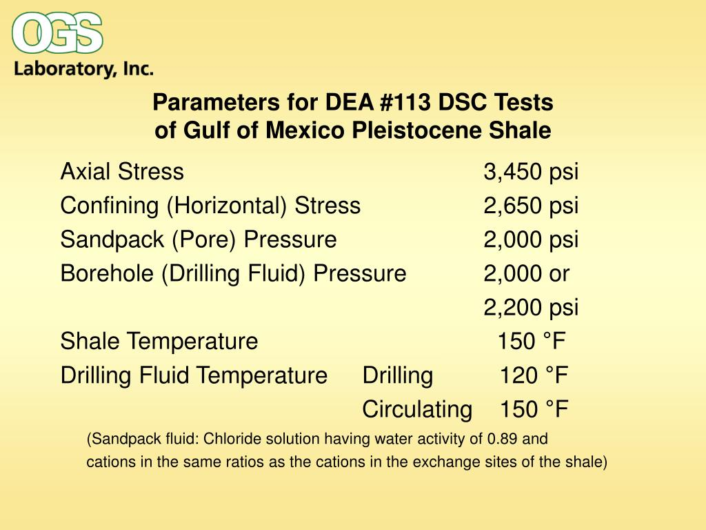 Parameters for DEA #113 DSC Tests