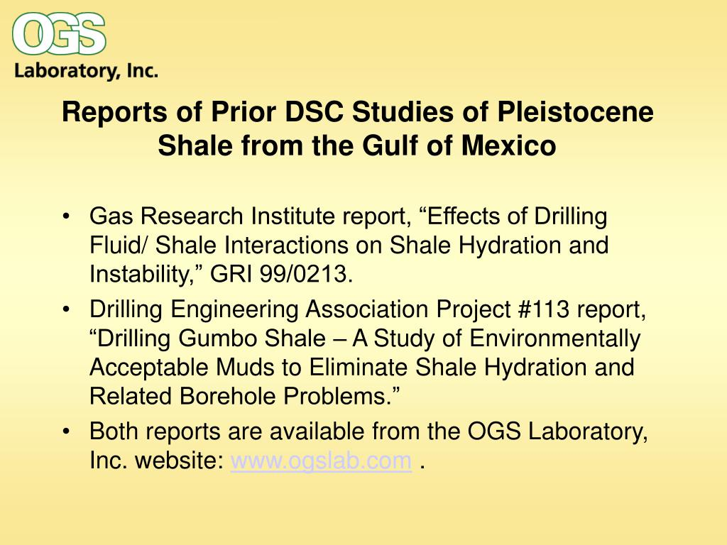 Reports of Prior DSC Studies of Pleistocene Shale from the Gulf of Mexico