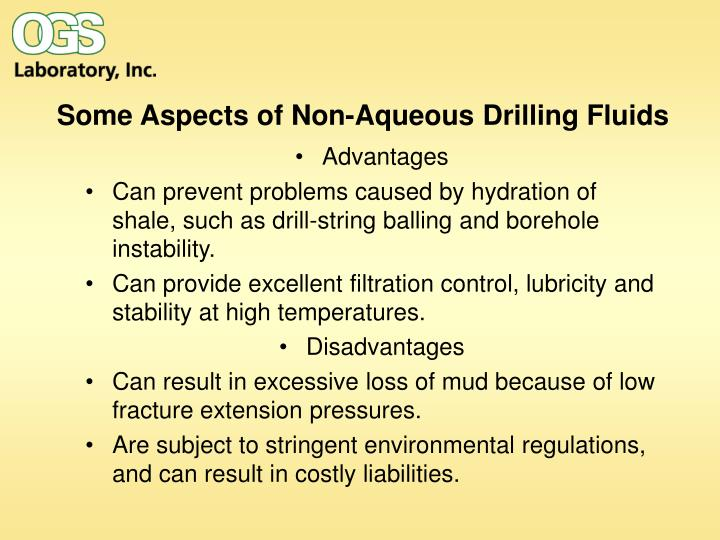 Some aspects of non aqueous drilling fluids